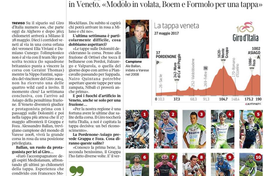 Foza e la ventesima tappa del Giro d'Italia sulCorriere del Veneto